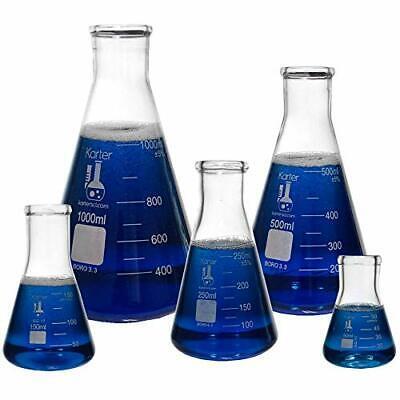 Karter Scientific Glass Flask 5 Piece Set Narrow Mouth Erlenmeyer Borosilicate