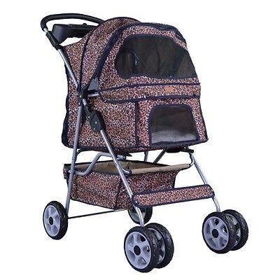New Leopard Skin bestpet 4 Wheels Pet Dog Cat Stroller w/RainCover Dog Supplies