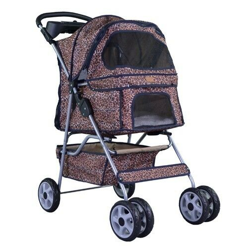 New Leopard Skin bestpet 4 Wheels Pet Dog Cat Stroller w/RainCover