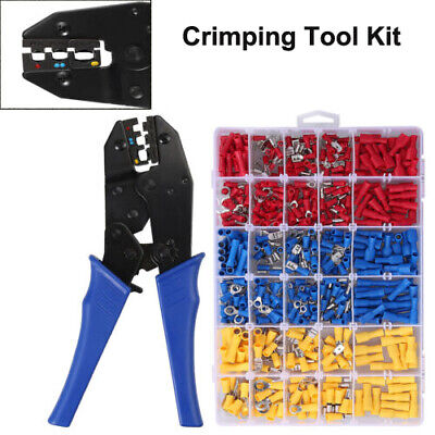 Wire Crimper Plier Crimping Tool Kit 10-22awg 500 Electrical Terminal Connectors