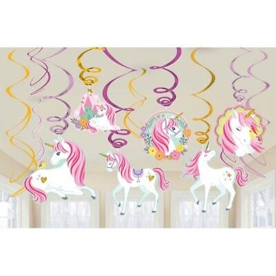 MAGICAL UNICORN HANGING SWIRL DECORATIONS (12) ~ Birthday Party Supplies Cutout Animals Hanging Cut Out