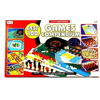 Set of Best 100 Compendium Games Traditional Family Board Game Chess Bingo Ludo