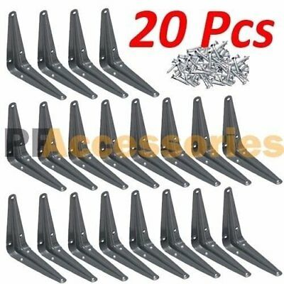 "20 Pcs Heavy Duty 3"" x 4"" inch Metal Shelf Brackets Grey Book Contertop Support"