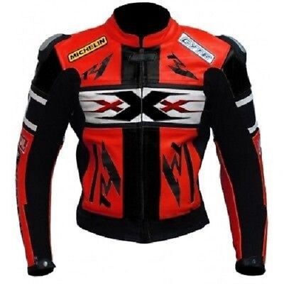 Mens Handmade Custom Red and Black Motorcycle Leather Jacket Safety For Men for sale  Shipping to India
