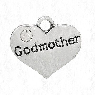 (GODMOTHER Heart with Clear Rhinestone 14mm Antiqued Silver Traditional Charm 1pc)