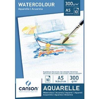 Canson Aquarellpapier Block A3, 300 g/qm 10 Blatt Aquarell Gouache Malblock groß