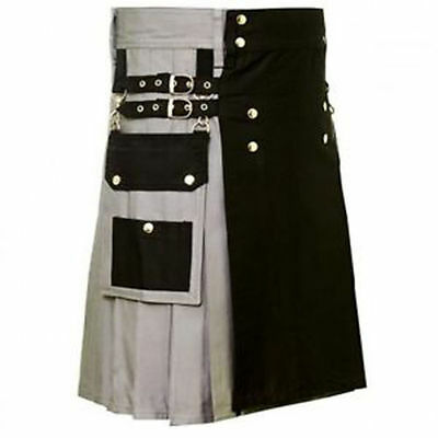 Scottish Kilt Costume 100% Cotton Grey & Black Unisex Adult Handmade utility