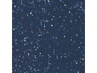 Commercial flooring Altro sheet - black with sparkly bits & blue & green-good for wet rooms/kitchens