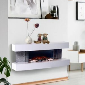 White indoor Wall Mount Electric Fireplace 750W/1500W w/ Remote