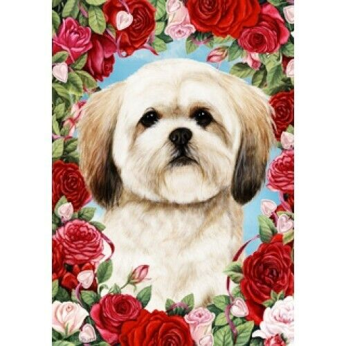 Roses House Flag - Lhasa Apso 19040