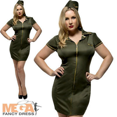 Fever Army Ladies Fancy Dress Military Uniform Womens Adults Costume Plus Size (Plus Size Military Costumes)