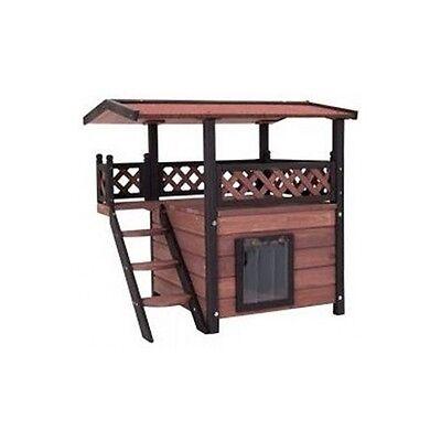 Outdoor Cat House Luxury Wooden Shelter Patio Weatherproof Garden Scratch Post