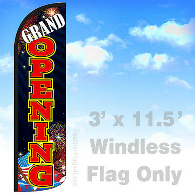 Grand Opening - Windless Swooper Feather Flag Banner Sign 3x11.5 - Kq