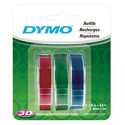 Dymo Embossing Tape Red Green Blue 38-inch Self Adhesive Label Glossy Refill
