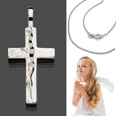 Kommunion Firmung Zirkonia Kinder Kreuz Anhänger Baby Taufe mit Kette Silber 925