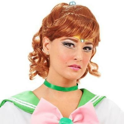 INCOGNEATO SAILOR MOON JUPITER GREEN ANIME DRESS UP COSPLAY COSTUME BROWN WIG  - Sailor Moon Costume Wig