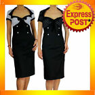 Cotton Rockabilly Dresses for Women with Pencil Skirt