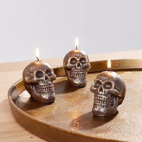NEW Set of 3 Crate Barrel Metallic Skeleton Halloween Tealight Candles SOLD OUT