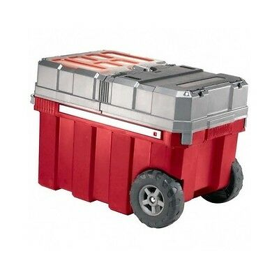 Plastic Portable Tool box Red rolling organizer chest cart storage garage NEW