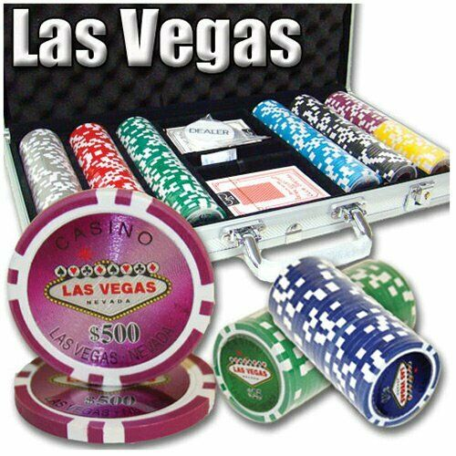 300ct. Las Vegas Casino 14g Poker Chip Set in Aluminum Metal Carry Case