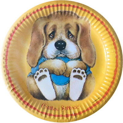 CRITTER SITTERS VINTAGE SMALL PAPER PLATES (8) ~ Birthday Party Supplies Orange (Vintage Paper Plates)