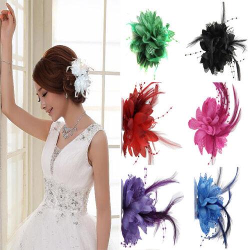 2X Haarblumen mit FederClip Perle Fascinator Blumen Brosche Haarclip Haarschmuck