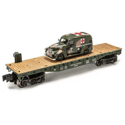 "Menards O Gauge 10 1/2""  Military Flatcar with Ambulance train car layout for sale  Shipping to Canada"