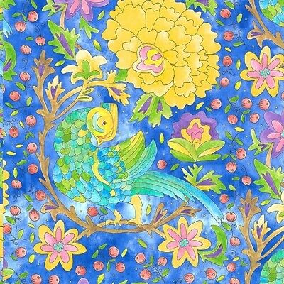 A Bird In Hand - Tropical Avians - Periwinkle Blue by Laura Heine