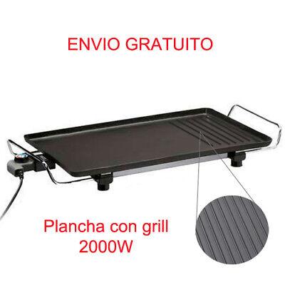 PLANCHA ASAR GRILL ELECTRICO 2000W PLACA DE ACERO MANGO DE METAL ANTIDESLIZANTE