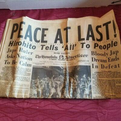 Honolulu Advertiser WWII VJ DAY August 15 1945 PEACE AT LAST ORIGINAL NEWSPAPER