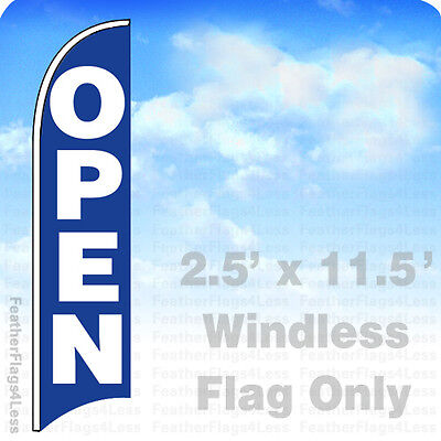 Open - Windless Swooper Flag Feather Banner Sign 2.5x11.5 - Bb