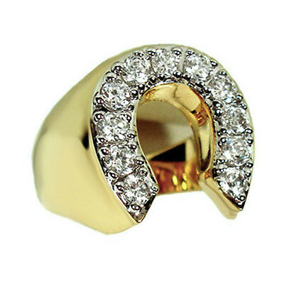 Mens Horse Shoe Lucky 18kt Gold Plated Tutone Ring New - Gold Mens Horseshoe
