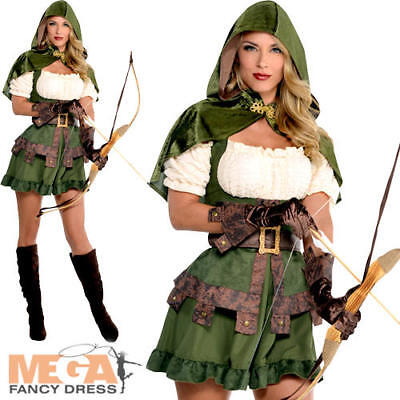 Robin Hood Ladies Fancy Dress Medieval Book Character Womens Adults Costume - Women Robin Hood Costume