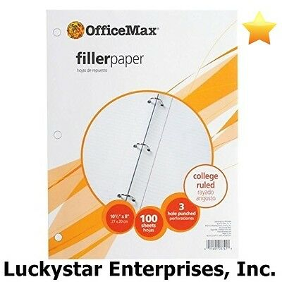 Officemax Filler Paper - College Ruled - 2400 Sheets - Lot Of 24 100-count Packs