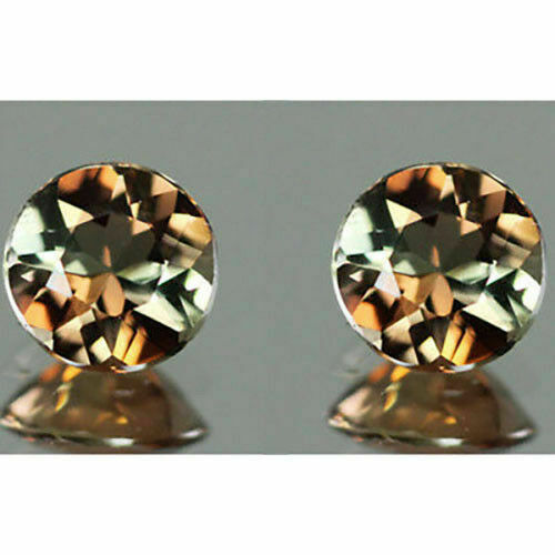 1.00CT EXCELLENT TOP LUSTER NATURAL   BRAZIL ANDALUSITE 5MM ROUND MATCHING PAIR