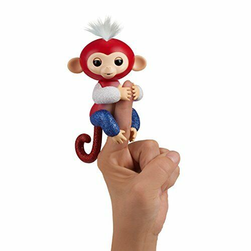 WowWee Fingerlings Glitter Monkey - Liberty (Red, White, & Blue Glitter) - In...