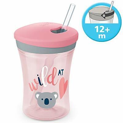 NUK Action Cup Trinklernflasche, weicher Trinkhalm, auslaufsicher, 12+ Monate,