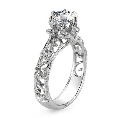 2.18ct Vintage Inspired Milgrain Scrolls Diamond Engagement Ring - GIA Certified