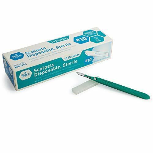 Medpride Disposable Scalpel Blades| #10 Sharp, Tempered Stainless-Steel Blades |