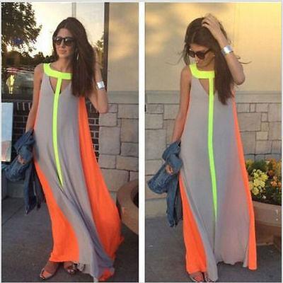 Fashion Women Summer Sleeveless Evening Party Beach Long Maxi Sundress Dress U.S