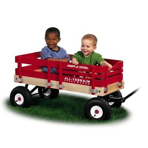 Kids Radio Flyer All-Terrain Cargo Pull/Ride Wood Wagon RED Beach/Backyard field