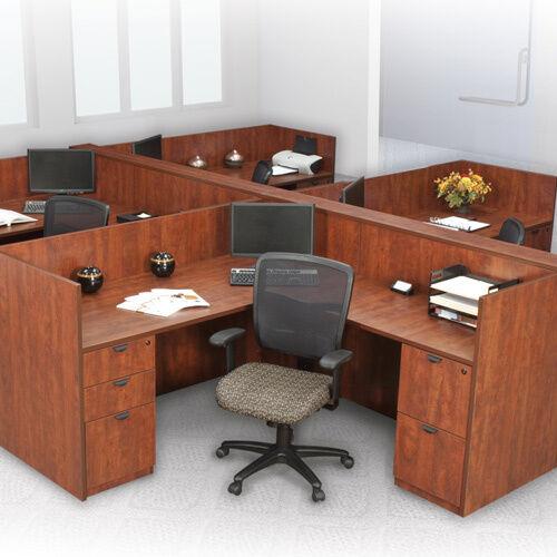 OFFICE WORKSTATION CUBICLE DESK Station L-Shaped Systems Furniture Wooden Panels