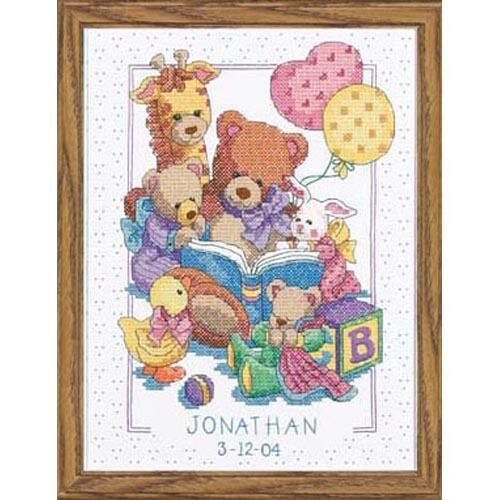 cross stitch kit teddy and friends birth