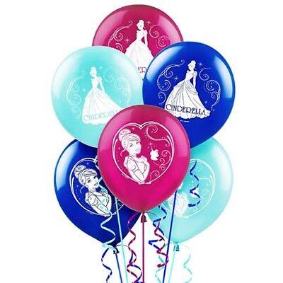 CINDERELLA Sparkle LATEX BALLOONS (6)  ~ Birthday Party Supplies Helium - Cinderella Birthday Supplies