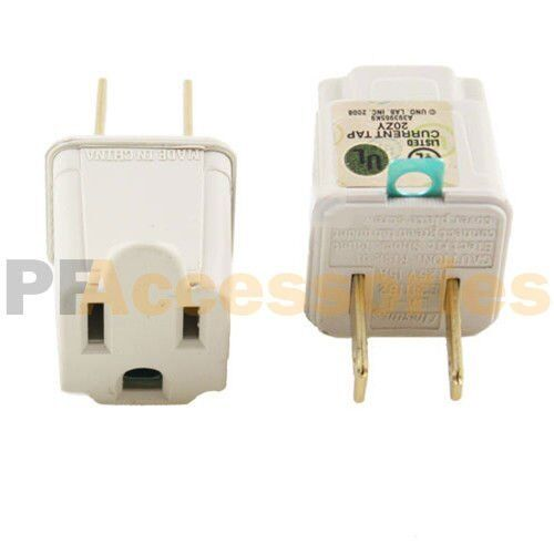 2 Pcs 3 Prong To 2 Prong Outlet Electrical Ground Ac Adapter Grounding Converter