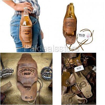 Beer Belt Holster Bottle Holder Drink Cowboy Handmade Soft Genuine Leather Mens