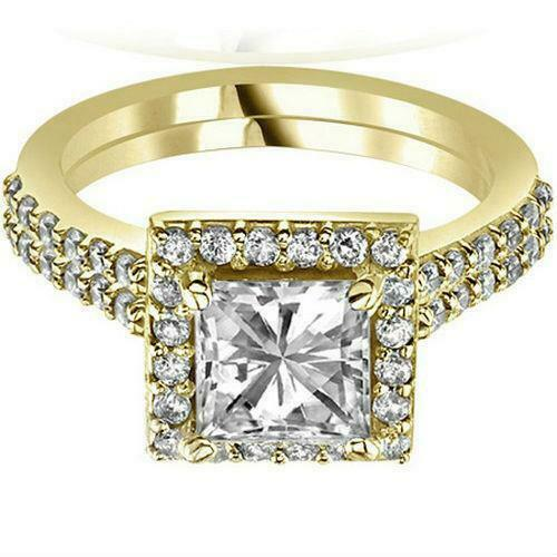 Colorless 14 Kt Yellow Gold Diamond Ring Halo Si1 D Ladies 1.92 Carats Real