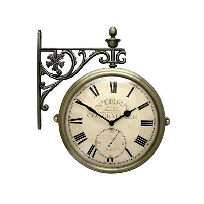 Antique Vintage Double Sided Wall Clock Home Decor Station Clock Gift - M195-AN