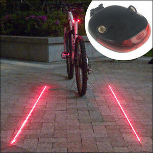 Laser Beam Waterproof LED Bike Bicycle Cycle Rear Back Tail Lights Light Lamp