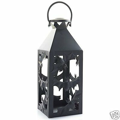 YANKEE CANDLE Halloween Silhouettes Batty Bats Lantern Black Metal Jar Holder